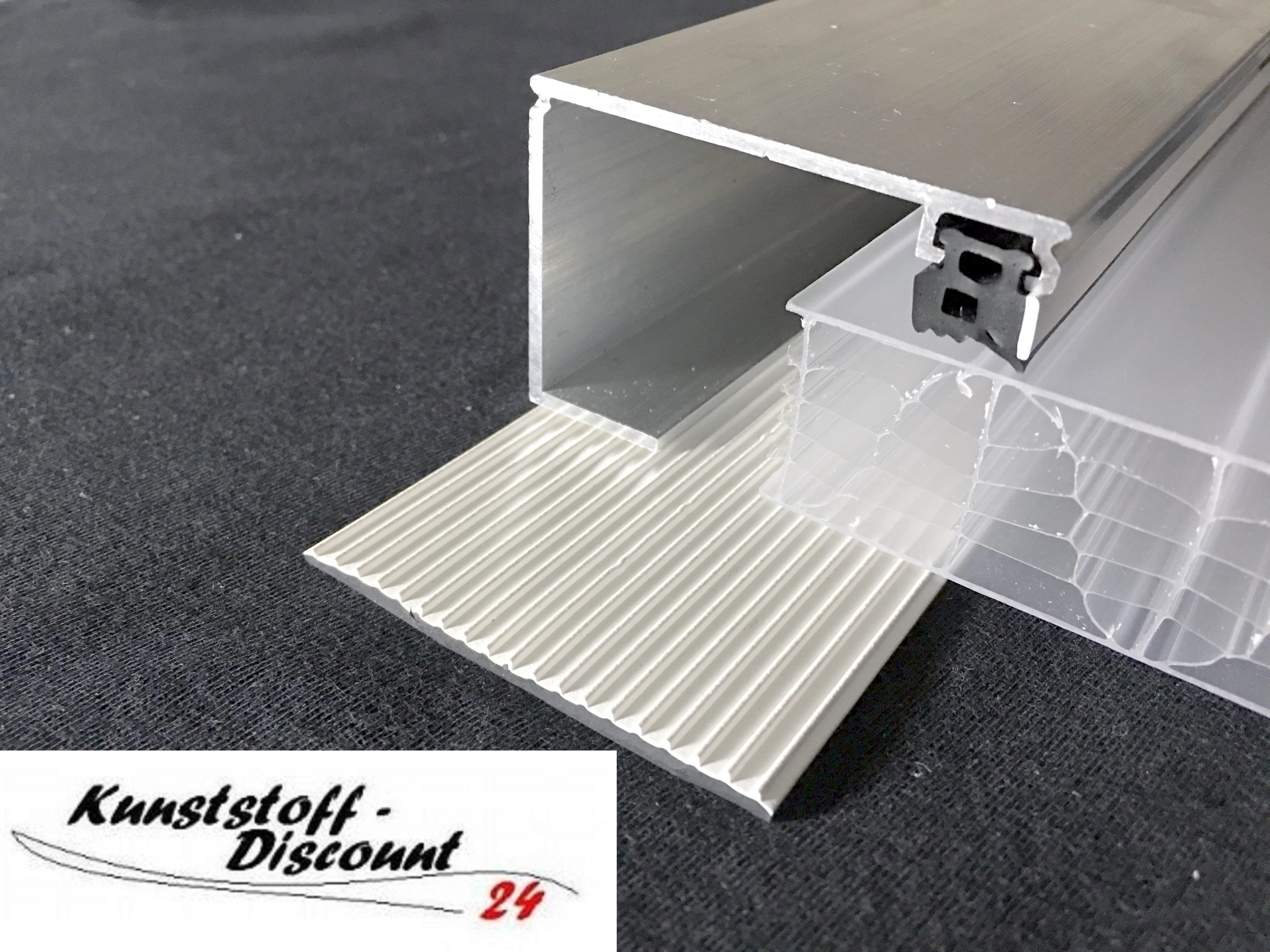 randprofil f r 25mm stegplatten mit dichtungen und auflagegummi kunststoffdiscount. Black Bedroom Furniture Sets. Home Design Ideas